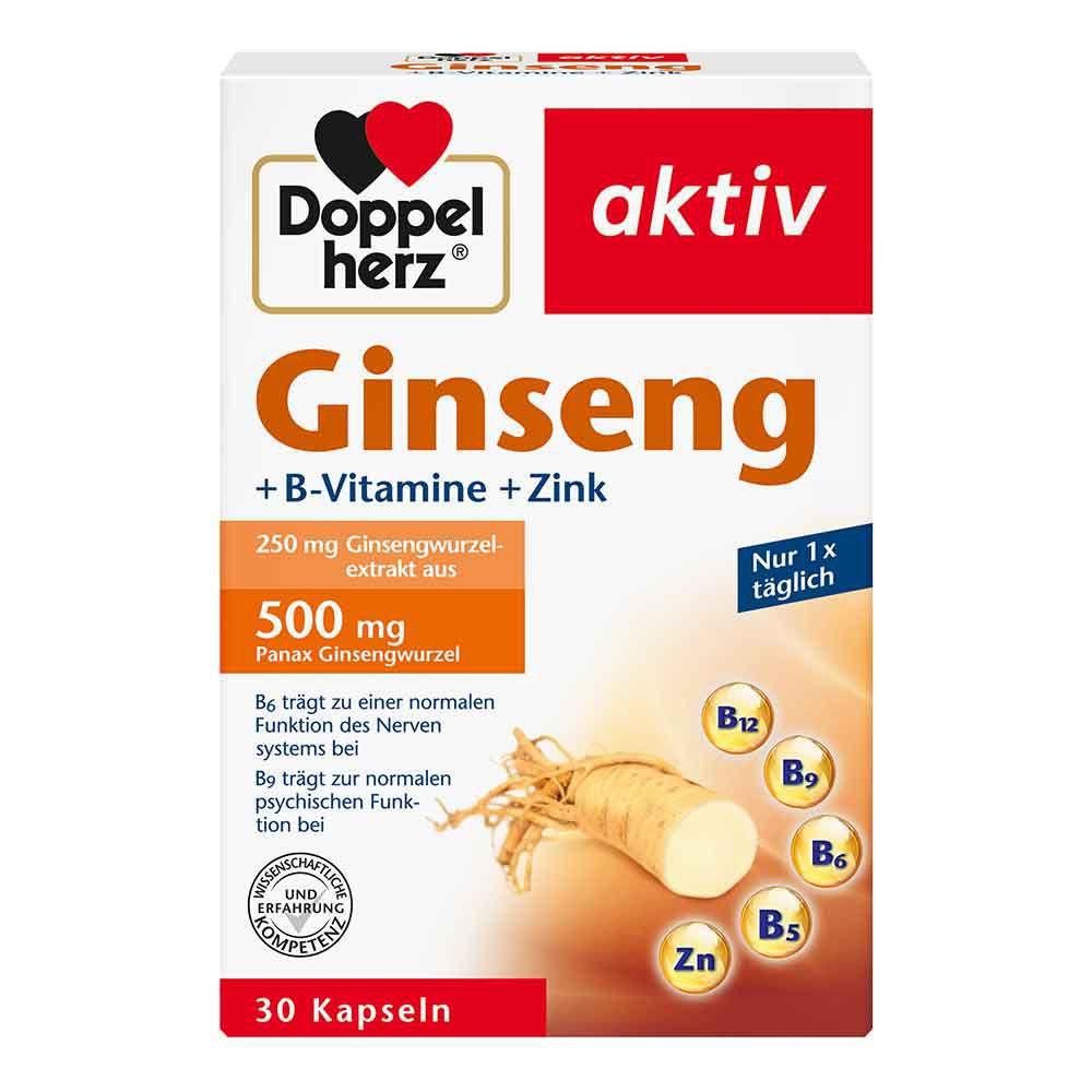 Queisser Pharma GmbH & Co. KG DOPPELHERZ Ginseng 250+B-Vitamine+Zink Kapseln 30 St 12013